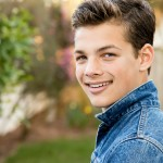 Smiling teenage actor